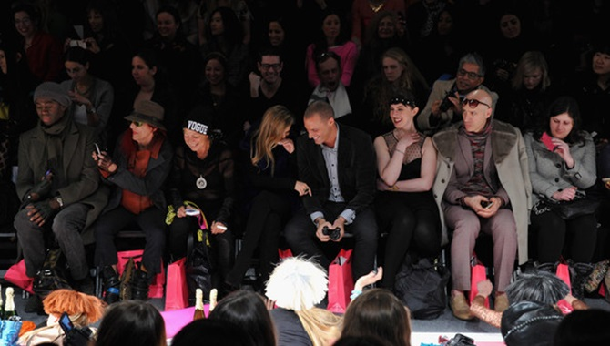 Patricia Field in the front row of Betsey Johnson F/W 2013