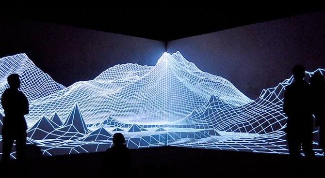 Audiovisual installation of Iceland Eyjafjallajökull volcano created by Joanie Lemercier