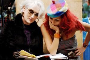 Meryl Streep Patricia Field on the set of  The Devil Wears Prada