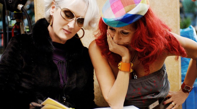 Meryl Streep Patricia Field on the set of The Devil Wears Prada