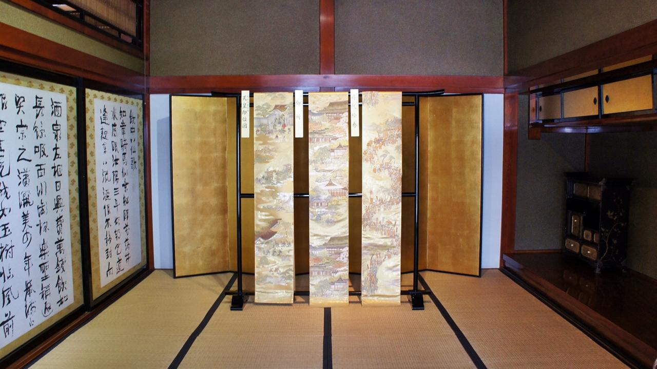 「中村之間」展出日本書法家中村不折的作品,包括杜甫《飲中八仙歌》。