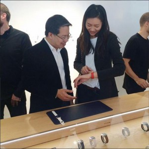 Liu Wen wearing an Apple Watch at Colette | instagram