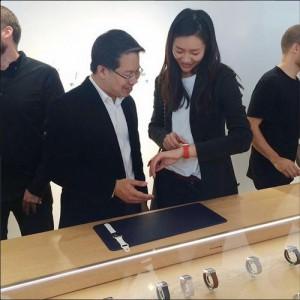 Liu Wen wearing an Apple Watch at Colette | instagram