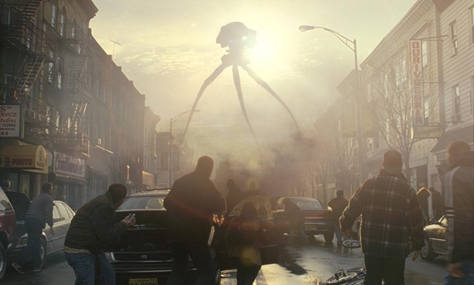 Earth is invaded by alien tripod fighting machines in War of the Worlds